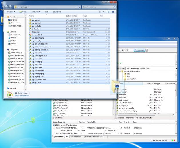 Flytta filerna från skrivbordet (wordpress mappen) till servern