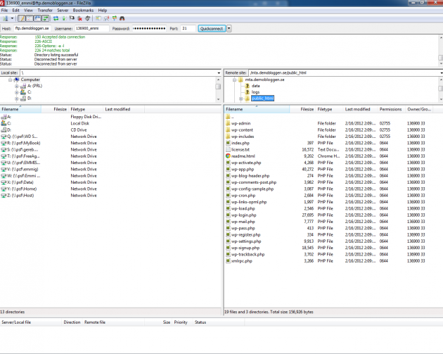 Dina filer i public_html mappen på servern