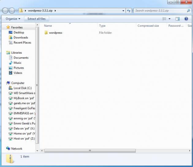 Extrahera filerna från din WP mapp