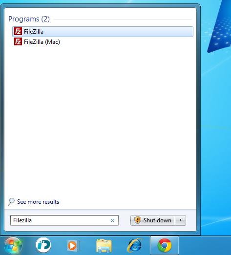 Hitta FileZilla på datorn och starta programmet