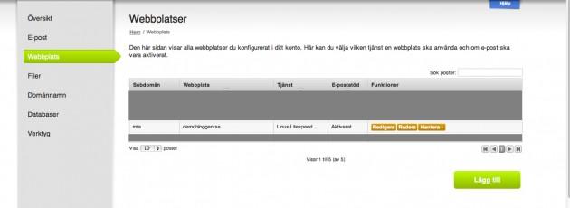 Dina webbplatser hos Binero