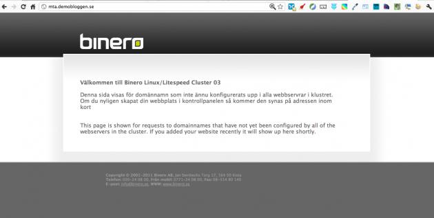 Denna sida visas för domännamn som inte ännu konfigurerats upp i alla webbservrar i klustret.
